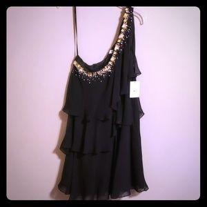 Calvin Klein black tiered gemstone dress